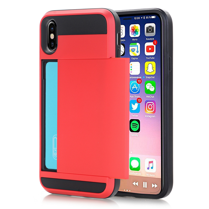 Slide Card Holder Cover Case For iPhone Xs Max Xr Xs X 8 7 6 6S Card Slot Protective Case For iPhone Xs Xr X 8 7 6 6S Plus