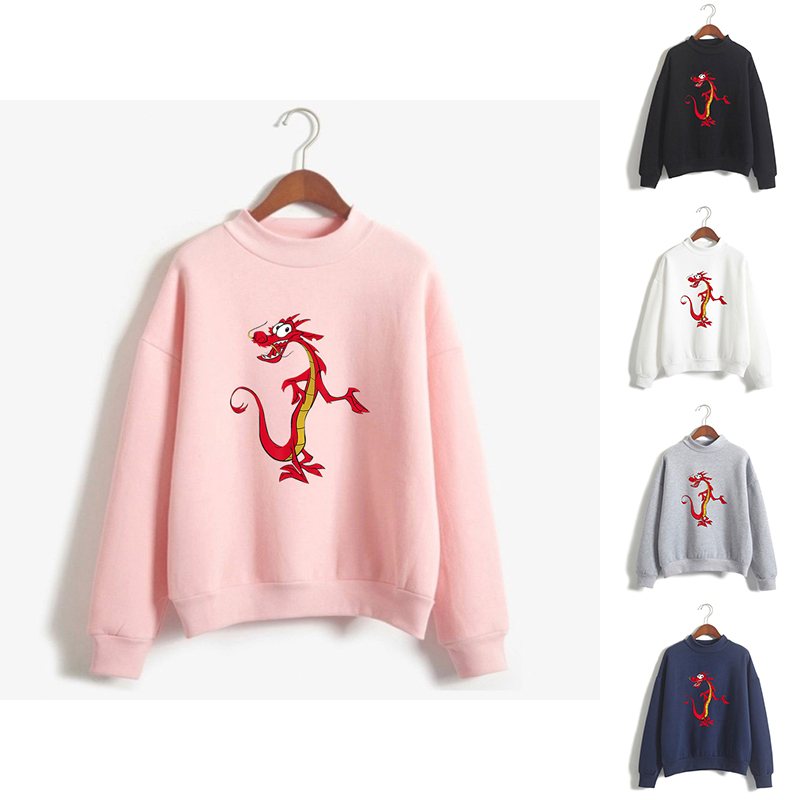 Spring Autumn Print Mulan Funny Dragon High Collar Hoodies Fashion Men Women Capless Sweatshirts Long Sleeve Hoodie Pullover Top
