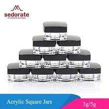Sedorate frasco acrílico recarregável, frasco de acrílico pçs/lote com tampa preta, frasco de creme quadrado 3g 5g recipiente JX058-2,