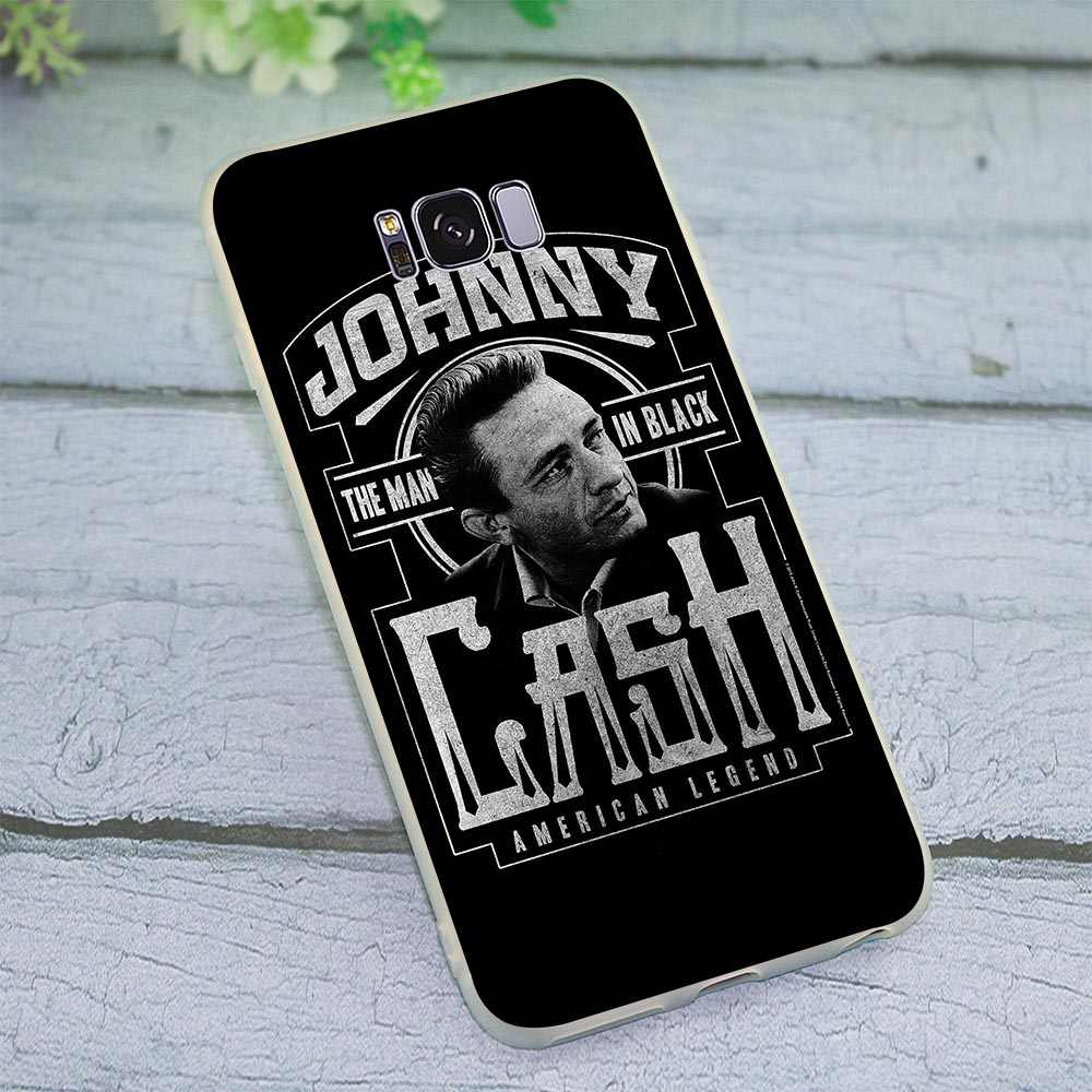 Lembut TPU Silicone Case For Samsung Galaxy M10 Johnny Cash Ponsel Cover untuk M20 M30 S7 Edge S8 Plus S9 s10 S10E Note 8 9 Kembali