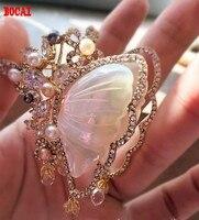 Jinmuke Южная Корея импортировала тондэмун мода благородный бабочки натуральный жемчуг Мать Бабочка брошь, брошь