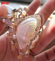 Jinmuke South Korea imported Dongdaemun fashion noble butterfly natural pearl mother butterfly brooch brooch