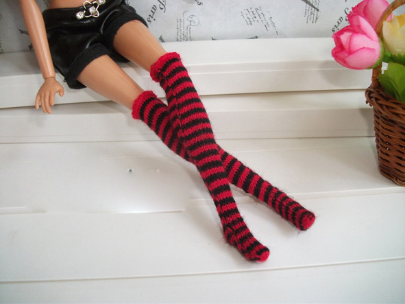 Wool Knee length Stockings Socks Gifts For Girls Doll Casual Pretty Socks For Barbie Doll BBI00136