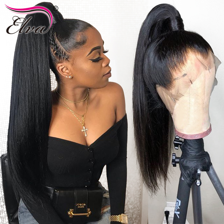 4.5inches 360 Lace Frontal Wig Pre Plucked With Baby Hair Brazilian Lace Front Human Hair Wigs Straight Remy Hair Wig Elva Hair(China)