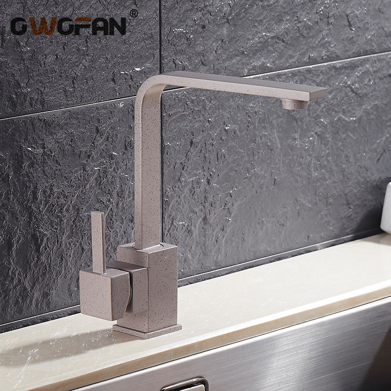 Kitchen Faucets Brass Kitchen Sink Water Faucet 360 Rotate Faucet Mixer Single Holder  Hole Gray With Dots Tap N22-026