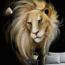 купить large size 3D Embossed wallpaper mural TV background wall canvas wallpaper Living room bedroom lion wall covering customize дешево