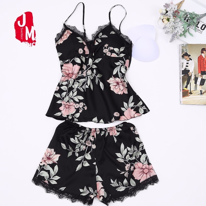 882a54ed820 Detail Feedback Questions about New Spaghetti Strap Pajama Set Sexy Satin  Sleepwear Embroidery Summer Shorts Sets Pajamas Flower Silk Pyjama With Chest  Pad ...