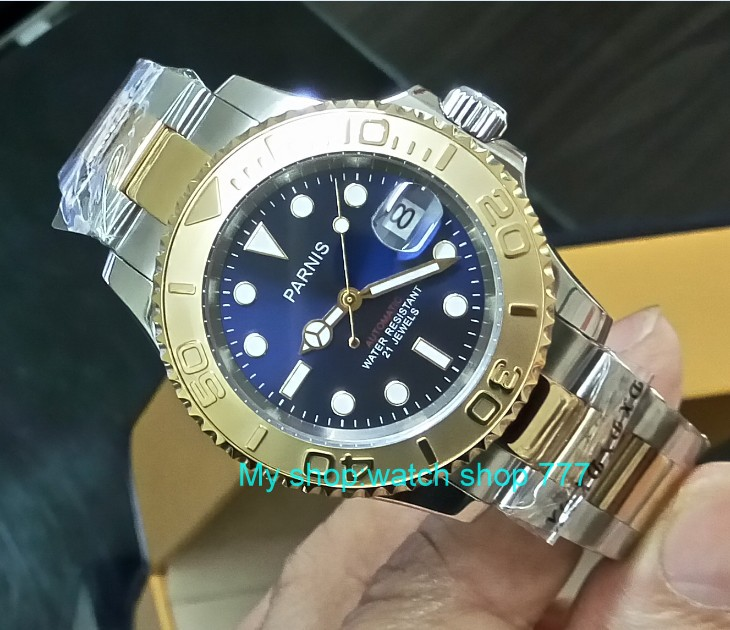 41MM PARNIS Blue dial Japanese Automatic Self-Wind movement Two-way rotation  bezel Sapphire Crystal luminous  mens watch G38841MM PARNIS Blue dial Japanese Automatic Self-Wind movement Two-way rotation  bezel Sapphire Crystal luminous  mens watch G388