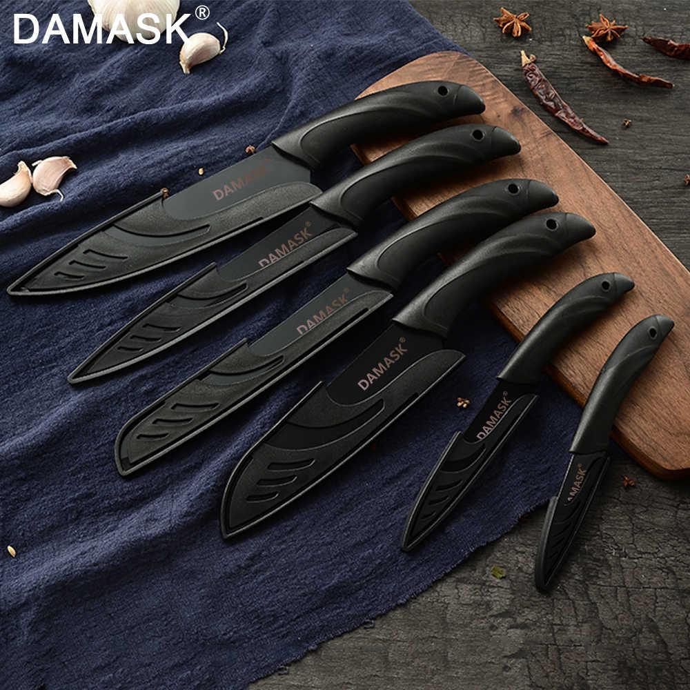 דמשק מטבח סכין שף סכיני 3Cr13 נירוסטה שחור סכין קליבר לחם Santoku סכיני PP ידית לבשל קאטר כלי
