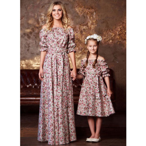 New Arrival Floral Dress Family Match Dress Mother Daughter Matching Girls Off Shoulder Floral Dress Outfits Clothes Dresses