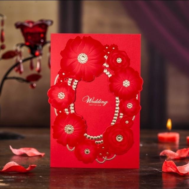 Elegant Laser Cut Wedding Invitation Free Printing Customized