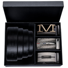 Hi-Tie Luxury Designer Belt Black Cowhide Genuine Leather Men Alloy Buckle Business Formal Style Automatic Boxed Belts