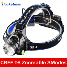 LED Headlight CREE T6 led headlamp zoom 18650 Head lights head lamp 2000lm XML-T6  zoomable lampe frontale LED flashlight