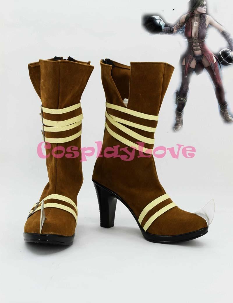 Newest Custom Made American Movie Brown Batman:Arkham Asylum Harley Quinn Cosplay Shoes Long Boots For Halloween