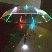 Hot Sale new 7colors changing LED luminous transparent umbrella with flashlight function Un paraguas Led O