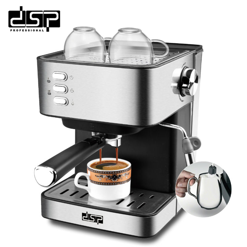 DSP  Semi-automatic Coffee Machine Stainless Espresso Maker Fully Functional Home Display Full Temperature Control gear shift
