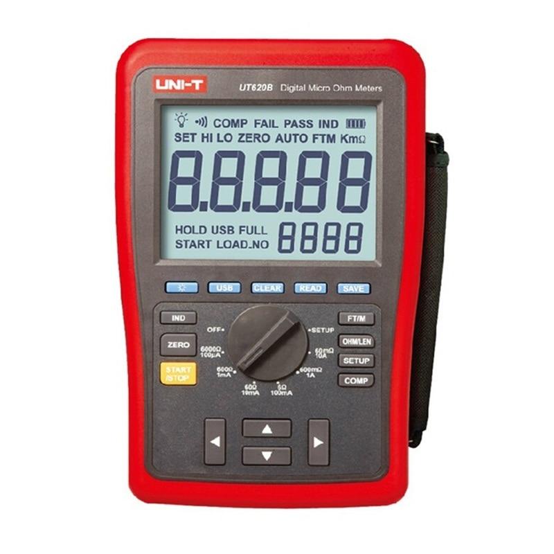 UNI-T UT620B Digital Micro Ohm Metros de Faixa Manual UT-620B Display LCD 60000 Contagens de Alta/Baixo limite de Alarme Interface USB