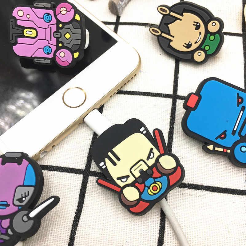 Dễ thương Phim Hoạt Hình Bảo Vệ Cáp Cho iPhone 5 5 s 6 6 cộng với 6 s 7 8 X USB Sạc Dữ Liệu đường Dây Bảo Vệ Trường Hợp Cáp Cuộn Bìa