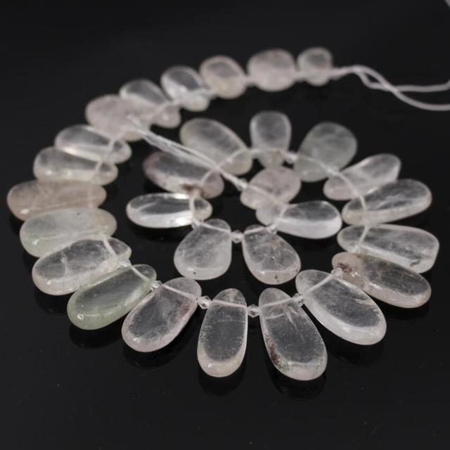 "15.5""/strand Natural Ghost Crystal Quartz Top Drilled Teardrop Slab Pendant Bead,Raw Quartz Slice Graduated Necklace Point Beads"