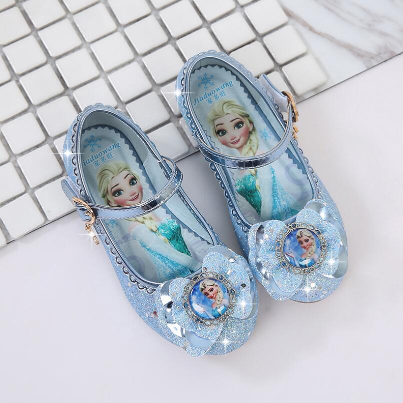 New Spring Autumn Kids Leather Flat Sandal For Girls Princess Elsa Dance Party School Children Shoes Butterfly Knot infant girl shoes spring and autumn flash cute princess children shoes soft insole flat bottom show shoes butterfly knot convenience