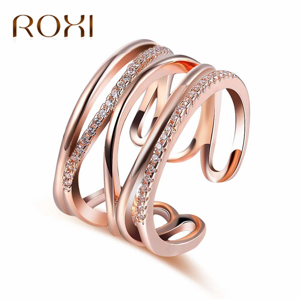 2b3d143a6de9 Anillo ajustable De moda ROXI Color oro rosa CZ anillos para mujer moda  Color Aneis De Ouro Zirconia anillo De Cruz joyería bague