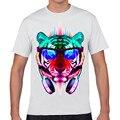 De los nuevos hombres locos divertidos DJ del gato camiseta impresa moda Casual manga corta Cool Tops t - 2016 XQ-65