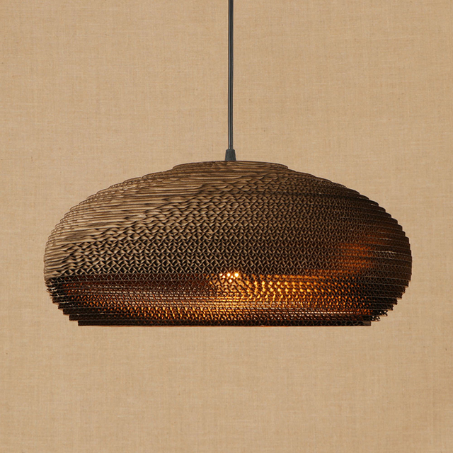 American LED Origami pendant light vintage hanging paper E27 pendant lamp bar/restaurant living room lighting fixture