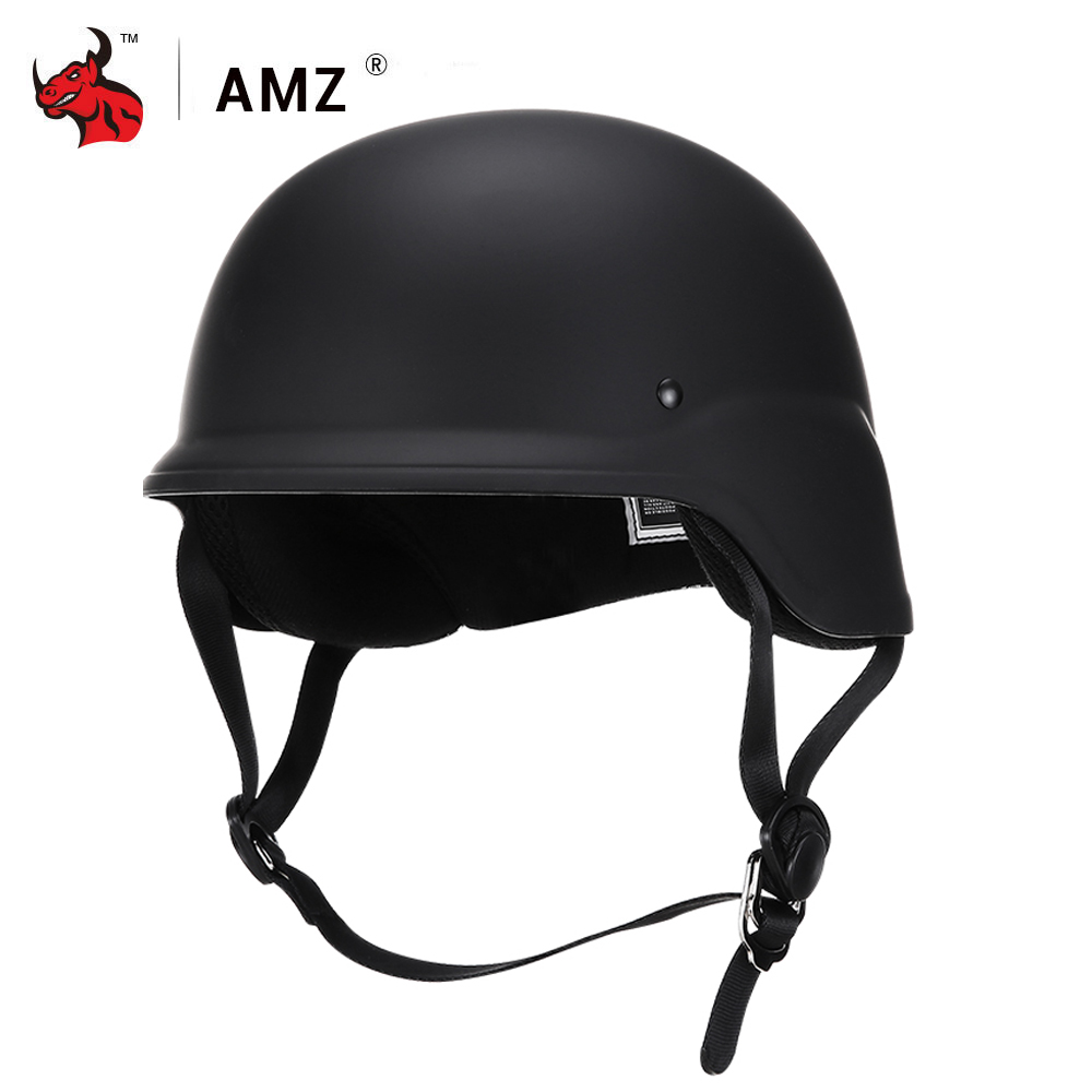 AMZ Half Face Vintage Motorcycle Helmet Retro Moto Helmet Protection Gear Vintage German Style Casco Casque