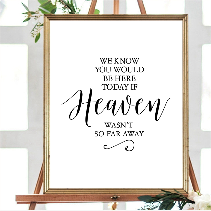 Wedding Decoration Prints Poster We Know You Would Be Here Today If Heaven Wasn't So Far Away Canvas Painting WEDDING sign Decor(China)