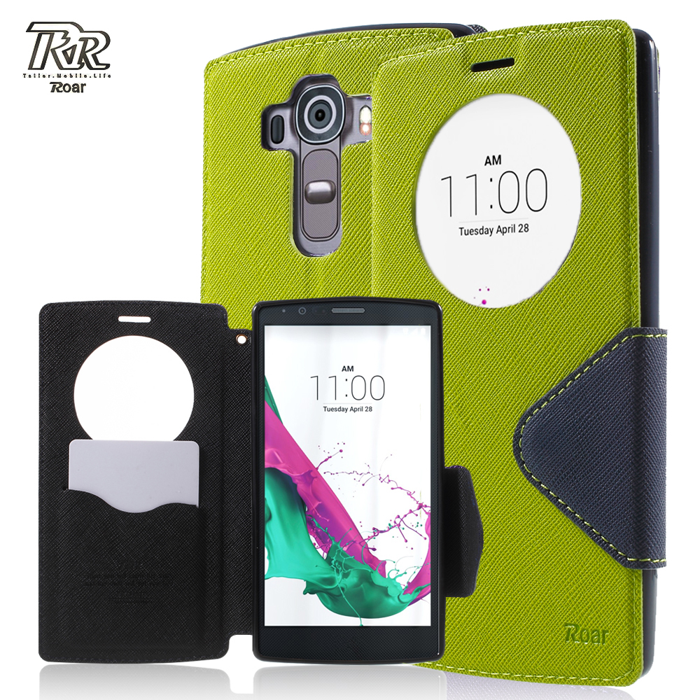 ROAR KOREA Phone Cover Bag for LG G 4 Bag Cover Diary View Window fundas coque Cases for LG G4 Leather Stand Flip Case Black