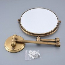 Antique Double Side Bathroom Folding Brass Shave Makeup Mirror Gold Plated Wall Mounted Dual Arm Extend Bath zba635