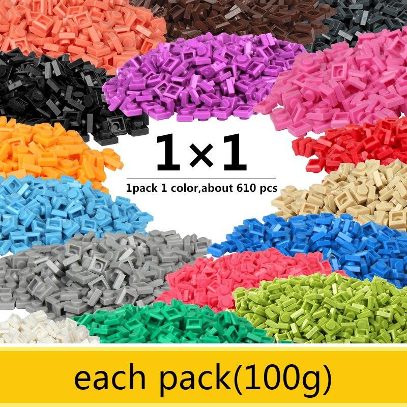 1x1 Thin Bricks Base Building Blocks Classic Legoed Small Enlighten Bricks Learning Toys For Kid Each Pack 100g About 610PCS
