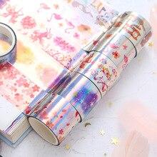 9 pcs/set washi tape 3m glitter animal transparent cinta stickers scrapbooking adhesiva decorativa sakura wide