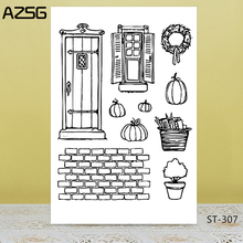 AZSG Country Window Wall Potted Plant Clear Stamps/Seals For DIY Scrapbooking/Card Making/Album Decorative Silicone Stamp Crafts