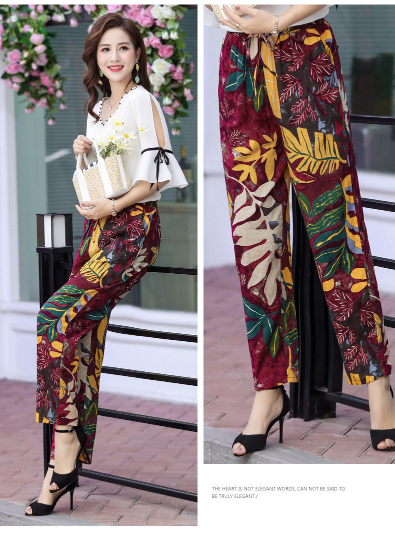 2020 New Middle Aged Women Pencil Pants Summer Female Casual Boho Beach High Quality Pants Plus Size Women Thin Trousers