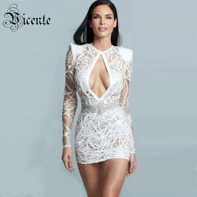 Vicente All Free Shipping 2019 New Chic White Sequins Sexy Key Hole Beads Design Long Sleeves