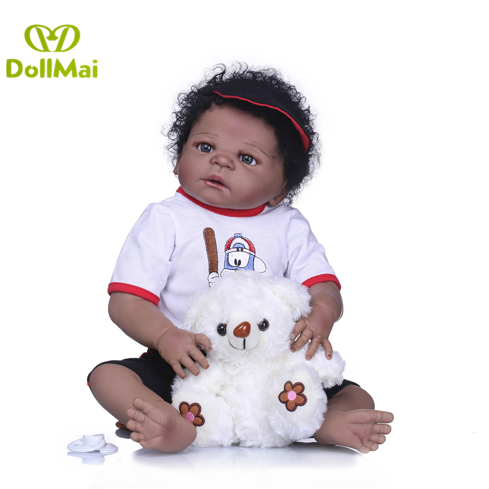 Black doll Reborn boy 57cm rooted hair full silicone body