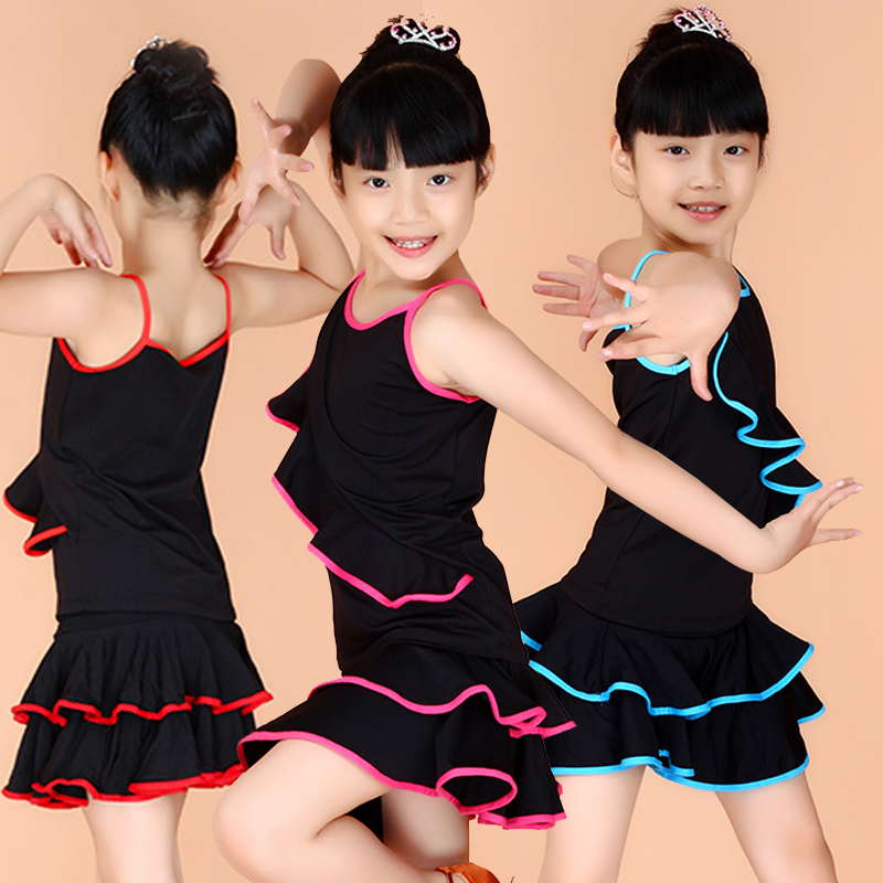 Girls Latin Dance Dress Tango Dress Latin Ballroom Dress Salsa Dance Dresses Kids Latin Skirt Samba Costume Black Girls Costumes