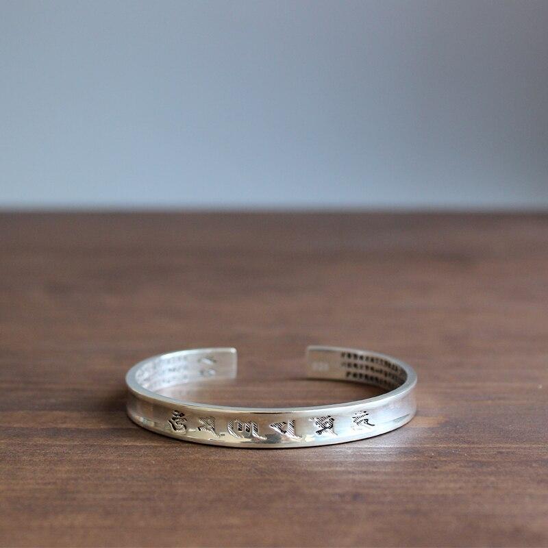 Eastisan blanco hecho a mano cobre tallado el corazón de Prajna Paramita Sutra pulseras para hombres mujeres om mani padme hum joyería 2017