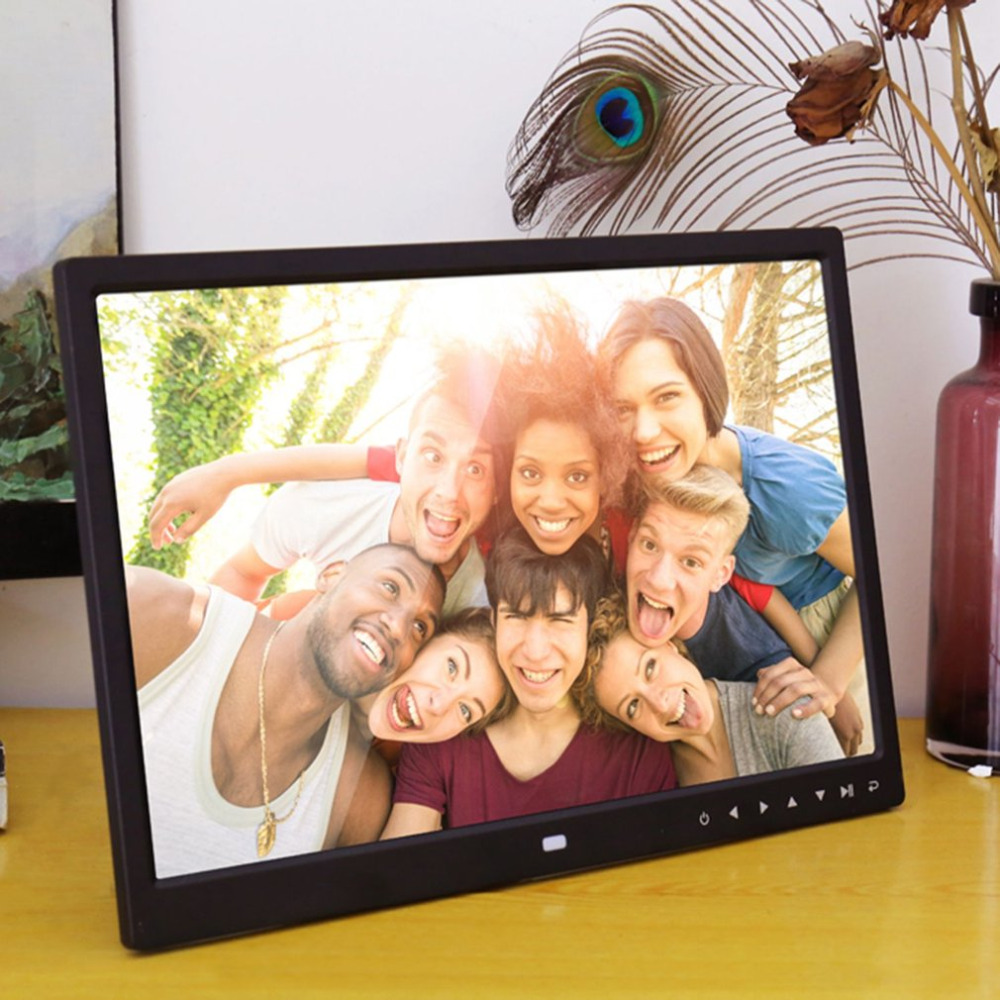 12 Inches Digital Photo Frame Electronic Picture Frame 1280*800 with Clock Calendar Remote Control Built-in Speaker Resolution