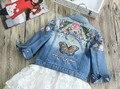 Voltar Borboleta Rosa Calça Jeans Crianças Denim Casaco