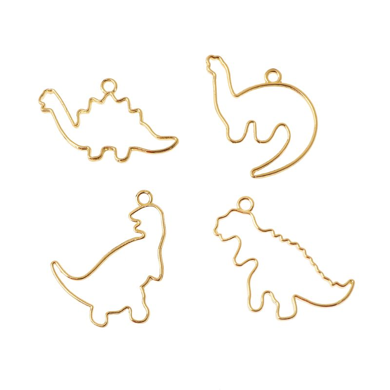 4Pc Cartoon Dinosaur Blank Resin Frame Pendant Open Bezel Setting Jewelry Making
