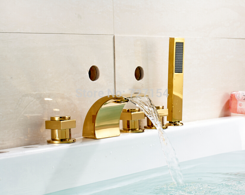 Free shipping! Luxury Golden Brass Tub Faucet Deck Mounted Sink Mixer Tap Handheld Shower Mixer free shipping shower mixer faucet mixer tap g018 luxury golden style bathtub faucet ceramic handle handheld bath