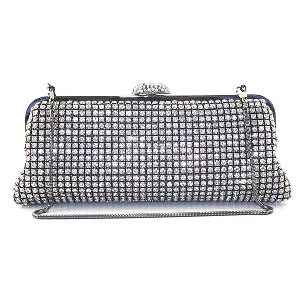 Lady Metal Satin Bridal Handbag Clutch Bag Women Clutches Party Banquet Crystals Purse Diamond Shoulder Bag(6052-BG)