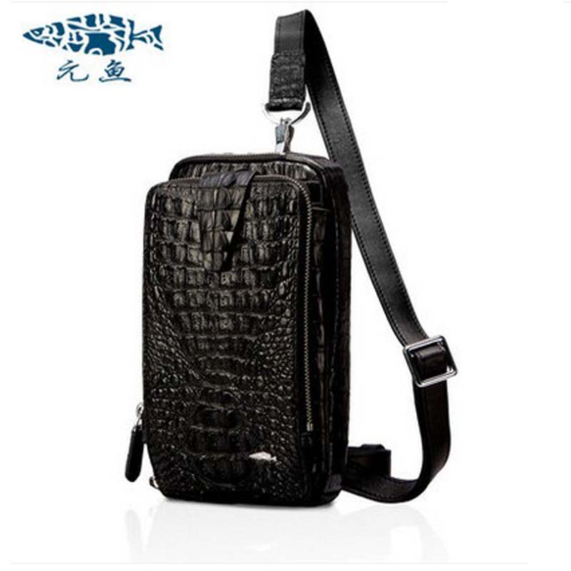 yuanyu Couples chest package messenger  bag new men and women leisure real crocodile leather bag  movement leather bag