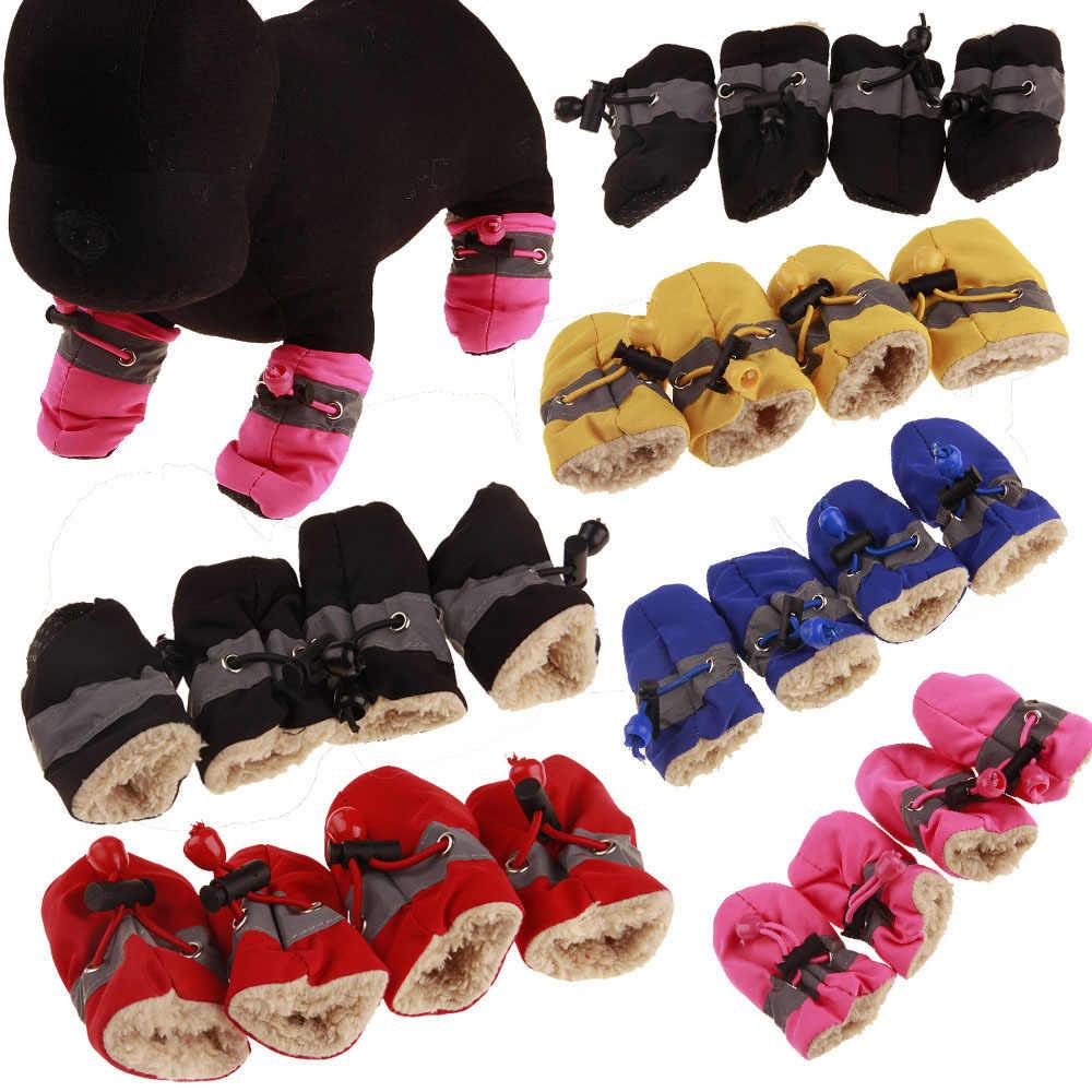 4 Chống Nước Mùa Đông Cho Thú Cưng Chó Giày Đi Mưa Chống Trơn Trượt Ủng Dày Ấm Áp Cho Mèo Nhỏ Chó Cún Con chó Vớ Booties Shoes