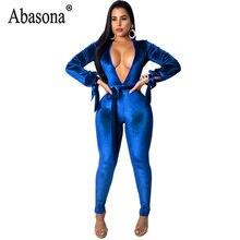 f4e6dd496ea5 Abasona Blue Purple Autumn Women Deep V Neck Sexy Jumpsuit Long Sleeve  Hollow Out Bandage Jumpsuit Women Club Bodycon Romper