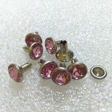 100 наборы 6 мм розовые заклепки из горного хрусталя быстрого серебряного гвоздя пятна шпильки DIY