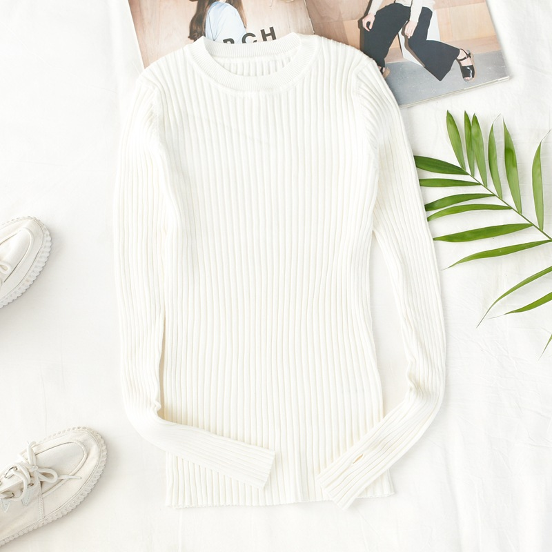 Long Sleeve Ribbed Tops White Crew Neck Solid Womens Ribbed Sweater With Thumb Hole Korea Style Winter Clothes Knitted Pullover