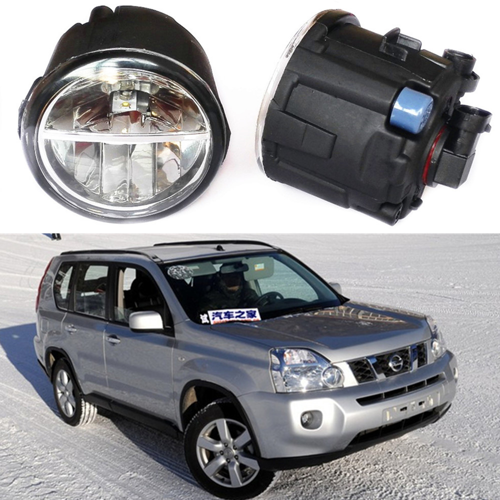 For  NISSAN X-Trail T31 Closed Off-Road Vehicle 2007-2014  LED fog lights Car styling drl led daytime running lamps 1SET car styling led fog lights for mitsubishi pajero iv v8 w v9 w closed off road vehicle 2007 2012 fog lamps 10w drl 1set